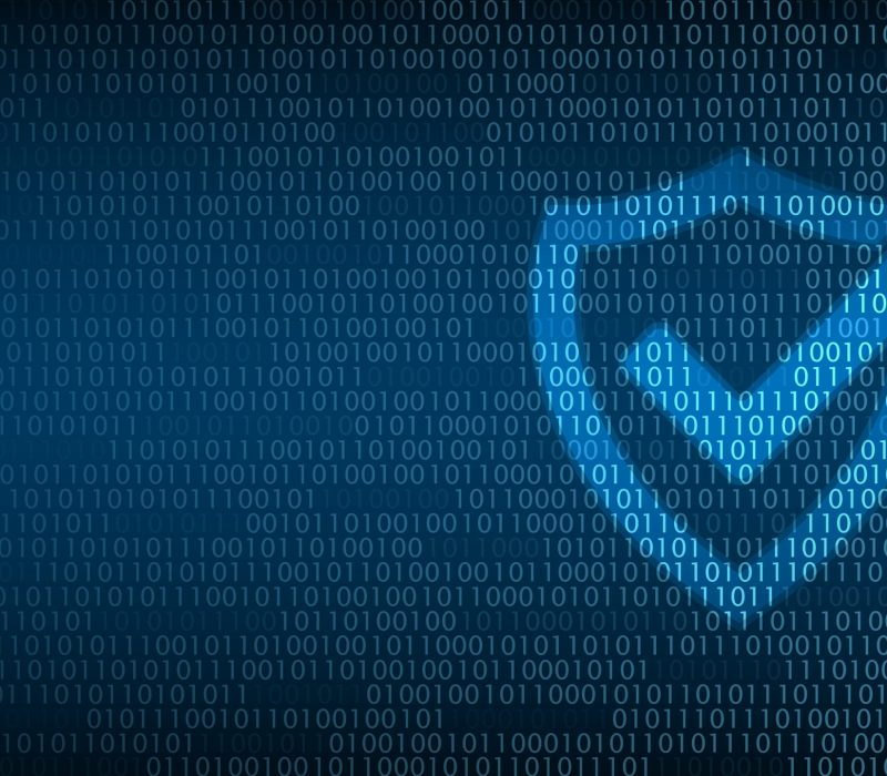 Cyber technology security, Shield on digital screen, netwok protection background design, vector illustration